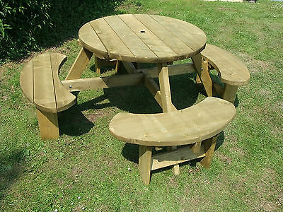 Picnic Table 8 Seats Round Pub Bench Garden Furniture. Winchester WRB38G • 214£