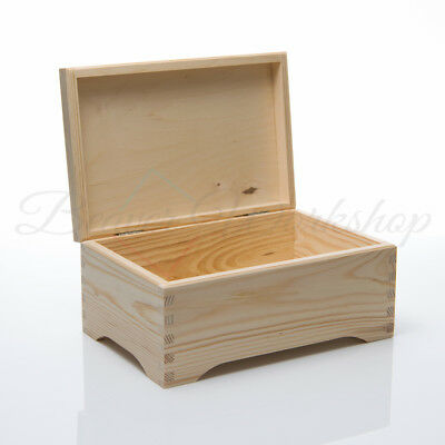 Wooden Box, Plain Keepsake Box, Box With Lid Plain Wooden Boxes 30x20x14 • 12.99£