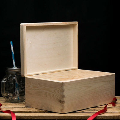 Wooden Box With Lid,  Plain Wooden Boxes, Wooden Storage Box, 30x20x14cm • 11.99£