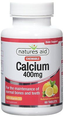 Natures Aid Vegan Calcium Chewable 400mg With Vitamin D3 60 Tablets • 5.26£