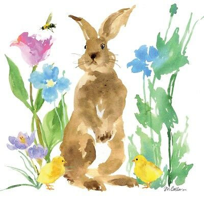 4 X Paper Table Napkins/Decoupage/Spring/Easter/Watercolour Rabbit With Chicks • 1.25£
