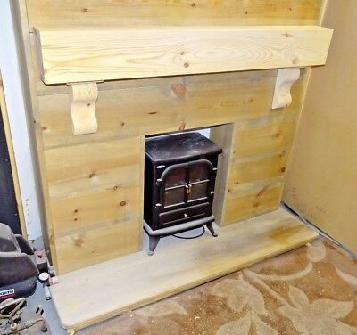 REAL PINE MANTLE SHELF FIREPLACE 6inch (17cm) Thick WITH CORBELS.. .free Postage • 94.99£