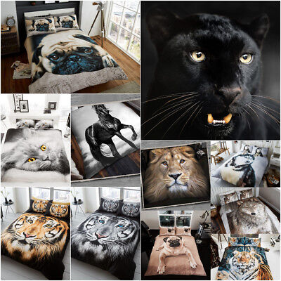 Duvet Cover Animal  Poly-Cotton Quilt Cover 3D Bedding Size Single Double King • 19.45£