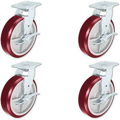 $108 • Buy CASTERHQ - 8 Inch X 2 Inch Poly. Swivel Casters With Brakes (4) Industrial Wheel