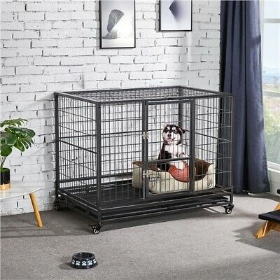 $139.99 • Buy 43  Large Metal Dog Crate Folding Kennel Heavy Duty Cage W/ Wheels & Tray Black