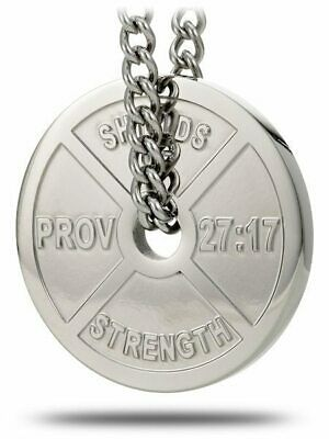 $69.99 • Buy Men's Stainless Steel Weight Plate Necklace-Proverbs 27:17 Shields Of Strength
