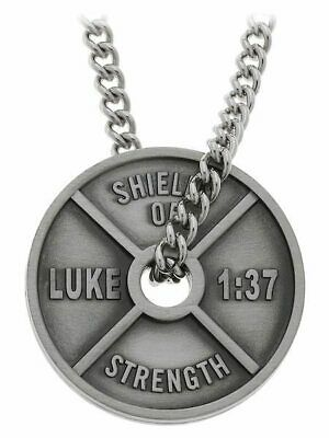 $29.99 • Buy Men's Antique Finish High Relief Weight Plate Necklace-Luke 1:37