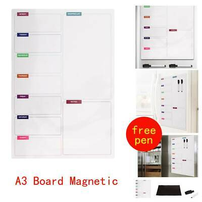 Large Fridge Notice A3 Board Magnetic Memo Weekly Family Meal Planner Whiteboard • 6.79£