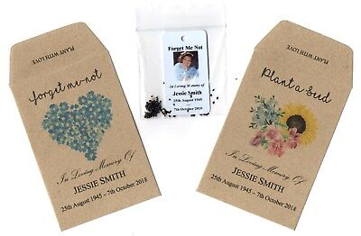 25 X Personalised FORGET-ME-NOT Seeds Funeral Condolence Memorial, Photo & Seeds • 15.95£