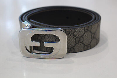 AU349 • Buy GUCCI INTERLOCKING GG LOGO LEATHER BELT- Excellent Condition & Authentic