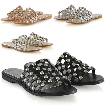 £10.99 • Buy Womens Slip On Sandals Ladies Caged Studded Strap Low Heel Summer Holiday Shoes