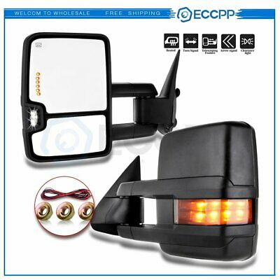 $140.90 • Buy For 1999-2002 Chevy GMC Pair Black Side Power Led Signal Light Towing Mirrors
