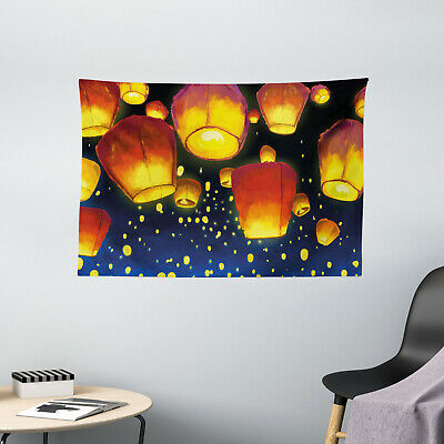 Lantern Tapestry Floating Fanoos Chinese Print Wall Hanging Decor 60Wx40L Inches • 22.37£