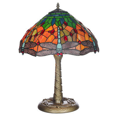 Tiffany Style 16  Mitcham Hand Crafted Dragon Fly Glass Shaded Resin Table Lamp  • 102.99£