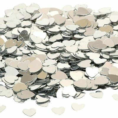 Small Silver Hearts Wedding Birthday Engagement Table Confetti Party Decoration • 1.69£