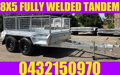 AU2799 • Buy 8x5 Fully Welded Galvanised Tandem Trailer With Cage Box Trailer