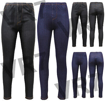 New Women's Ladies Plus Size Stretchy Denim Look Skinny Jeggings Leggings 8-24 • 7.99£