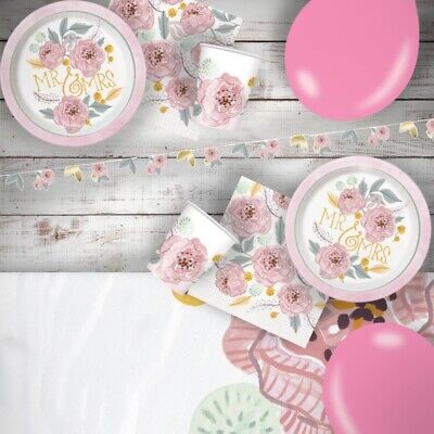 £3.25 • Buy Wedding Floral Painted Flowers Party Tableware, Banner & Favour Bags