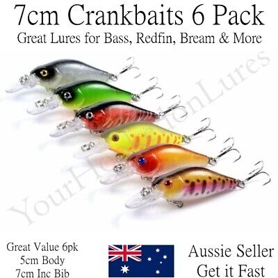 AU10.95 • Buy 6 Redfin & Bream Fishing Lures, Yellowbelly, Flathead, Bass, Perch, Trout, 7cm