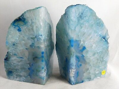 AB95) Large Blue Agate Quartz Crystal Bookends House Office Decor Gift 3.15KG • 57£