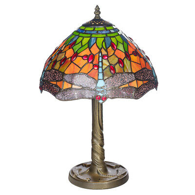 Tiffany Style 12  Mitcham Hand Crafted Dragon Fly Glass Shaded Resin Table Lamp • 62.99£