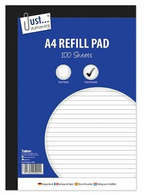 £2.25 • Buy A4 Refill Pad Ruled 100 Sheets Margin Lined Writing Note Book Punched Holes Pad