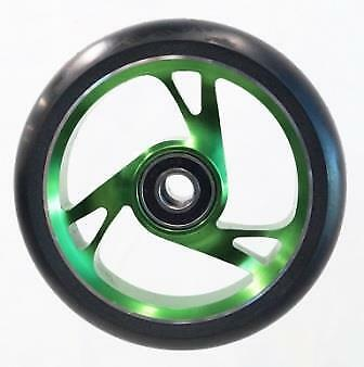 Scooter Wheel -  Alloy Metal Core - 125mm - ABEC 9 -  Anodised GREEN • 24.86£