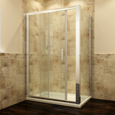 Sliding Shower Door Enclosure And Tray Bathroom Cubicle Side Panel Glass Screen • 93.99£