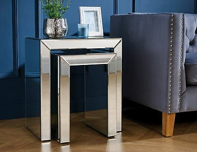 Birlea Valencia Mirrored Nested Nest Of Table Bevelled Glass Modern Designer • 209.99£