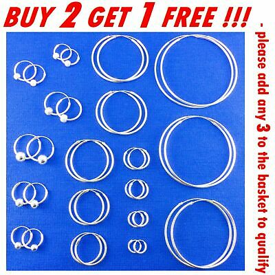 925 STERLING SILVER HOOP SLEEPER EARRINGS 8- 50mm SMALL LARGE NOSE SET BALL RING • 4.79£