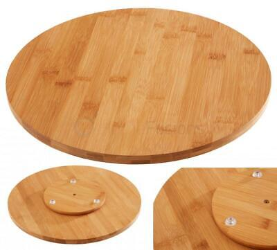 £17.95 • Buy Bamboo Wood Lazy Susan Rotating Tray Serving Plate Solid Wooden Stable Base 35cm