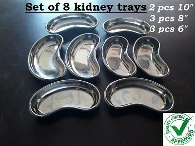 Professional Surgical KIDNEY TRAY DISH BASIN Stainless Steel Set Of 8 Trays • 23.89£