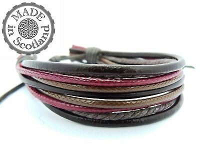 Brown Leather Burgundy Red Hemp Mens Surfer Bracelet Boho Indie Wrap Tribal Cuff • 4.50£