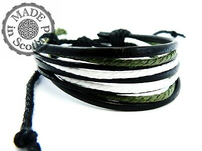 Black Leather & Hemp Mens Surfer Bracelet Boho Indie Wrist Man Wrap Tribal Cuff • 4.50£