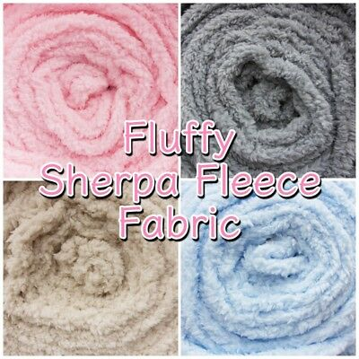 £9.99 • Buy Sherpa Fabric Fleece Super Soft Lambswool Look Craft Cuddle Fluffy Material