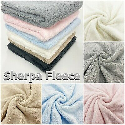 Super Soft Fluffy Sherpa Fleece Lambswool-Look Blanket Craft Fabric Material • 6.40£