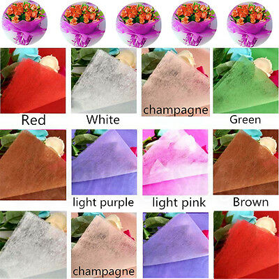 5/10X DIY Gift Wrapping Cotton Paper Flower Bouquet Craft Paper Supplies 50x50cm • 3.35£