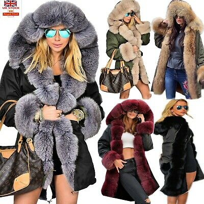 Roiii Women Winter Coat Hooded Long Parka Casual Jacket Thicken Lining With Fur • 37.98£