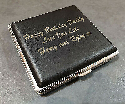 Laser Engraved Tobacco 20 Cigarette Tin Case Leather Personalised Gift Unusual • 11.99£