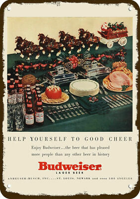 $ CDN30.36 • Buy 1954 BUDWEISER BEER Vintage Look REPLICA METAL SIGN - SANTA & CLYDESDALE HORSES