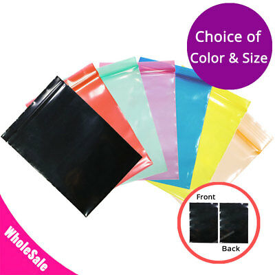 $26.99 • Buy Multiple Sizes Colorful Glossy 3.93-MIL Poly Plastic Flat Zip Lock Pouch Bag M14