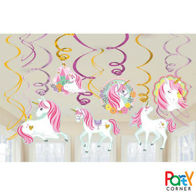AU8.80 • Buy Unicorn Party Supplies SWIRL DECORATIONS Pack Of 12