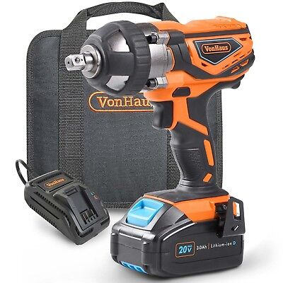 View Details VonHaus Cordless Impact Wrench + 3.0Ah Li-ion 20V MAX Battery & Charger, 240Nm • 89.99£