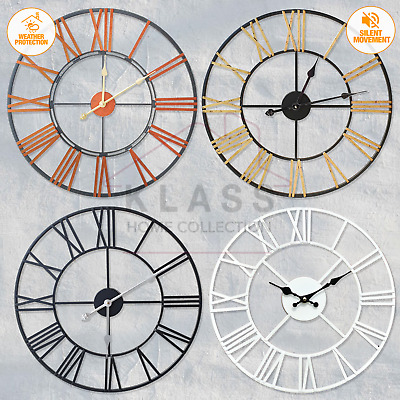 £23.95 • Buy Large Skeleton Home Garden Wall Clock Roman Numeral Open Face Modern Metal Round