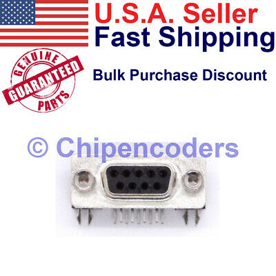 $4.39 • Buy DB9 Female RS232 D-SUB Serial 9 Pin Right Angle PCB Mount Connector