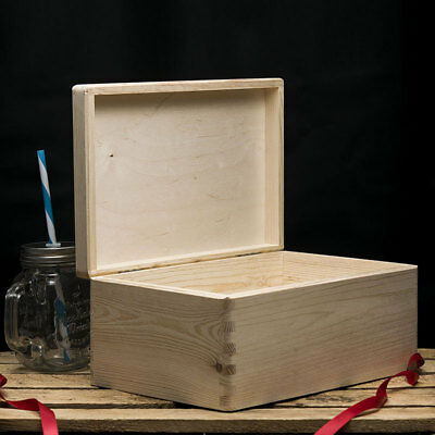 Plain Wooden Box Storage Box 30x20x14cm Wooden Box With Lid • 10.50£