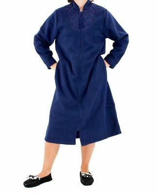 Ladies Givoni (90) Zip Polar Fleece Dressing Gown Short Robe Navy Blue • 36.01£