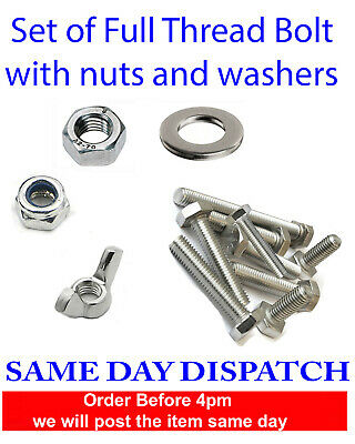 £3.50 • Buy Nuts And Bolts Set Screws Full Thread And Washers Stainless Steel M4 M5 M6 M8