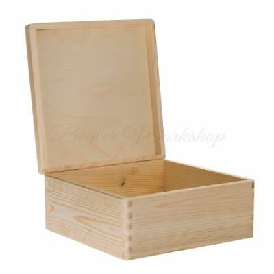 Wooden Box Plain Wooden Storage Box Keepsake Box Large Wooden Box • 8£