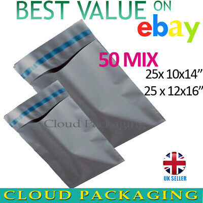 £4.99 • Buy 50 MIXED SIZES - 12 X 16 + 10 X 14 STRONG LARGE GREY POSTAL MAILING BAGS